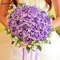 Superventas románticos ramos de novia artificiales de seda rosa flores de la boda ramos de novia 2017 barato nupcial de la boda bouquet