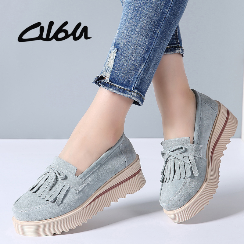 O16U 2018 Spring Women Flat Platform Shoes Suede Leather Tassel Slip on Loafers Flat Women Moccains Fringe Casual Creepers Shoes
