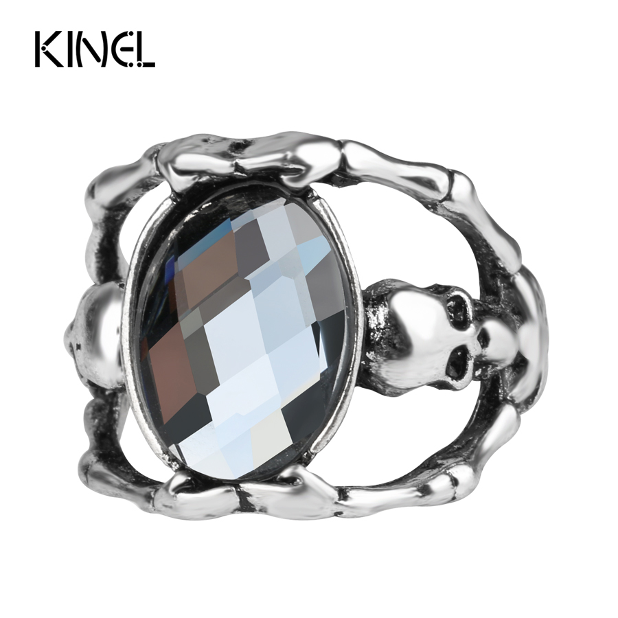 2017 New Ghost Skull Rings For Women Ancient Silver Color Gray Glass Punk Jewelry Fashion Cool Gift Men Skull Ring