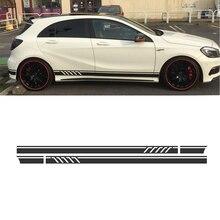 220 cm x 11.5 cm Negro Brillante Rayas Laterales Falda Decals Sticker para Mercedes Benz A Class W176 A180 A200 A250 A45 AMG