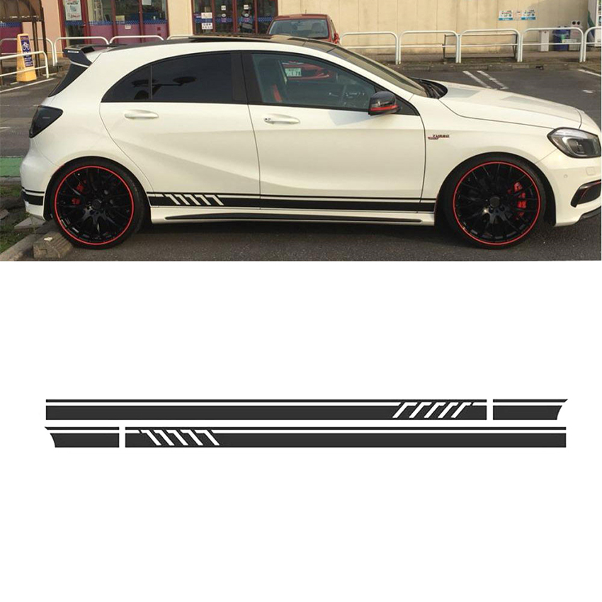 Matte Black Side Stripes Skirt Decals Sticker for Mercedes Benz A Class W176 A180 A200 A250 A45 AMG car styling auto amg sport performance edition side stripe skirt sticker for mercedes benz g63 w463 g65 vinyl decals accessories