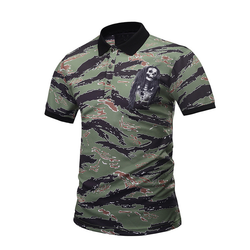 2018 Tropical Islands Style Polo Shirt Men Short Sleeve Quality Personality Camouflage 3D Skulls Print Polo Shirt Slim