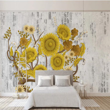 Custom wallpaper retro brick wall fashion sunflower flower TV background wall home decoration art painting home decoration 3d landscape wallpaper stone wall flower lilac flower decorative painting decorative brick wall