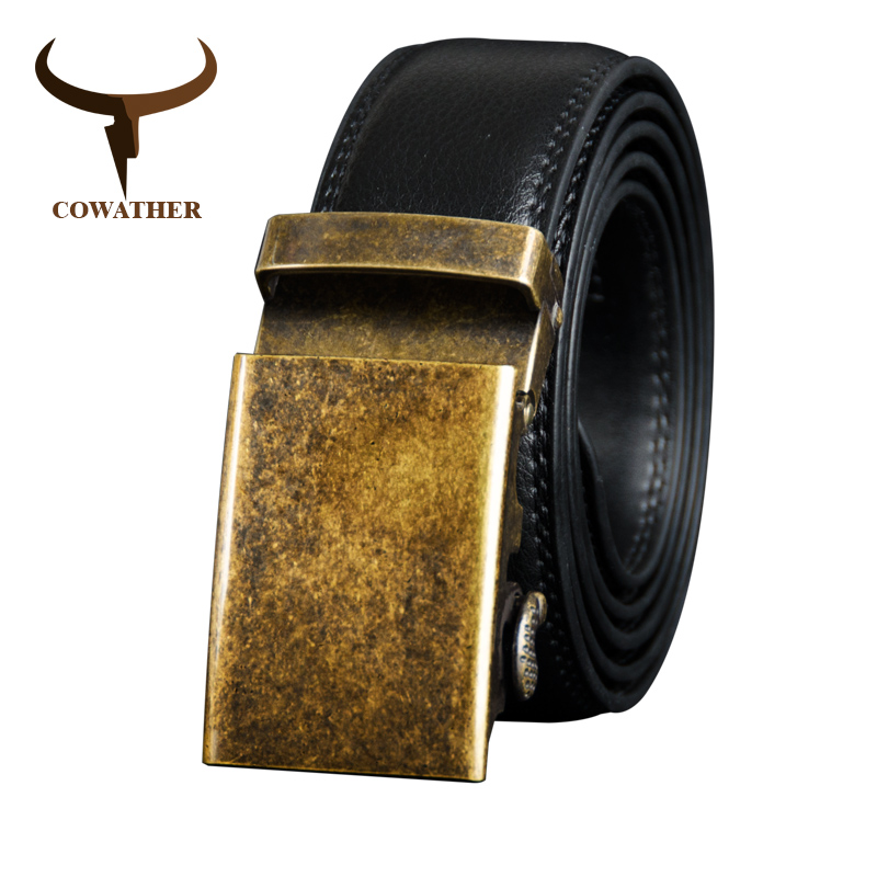 COWATHER Cow Genuine Leather Belt For Men Cowhide  Belt Men Metal Automatic Buckle Male Strap Top Quality Male Waistband CZ125