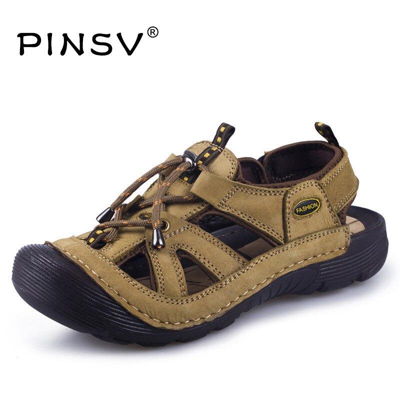 Cow Split Leather Sandals Men Shoes Blown Men Summer Sandals Brand Beach Shoes Men Sandals Zapatos