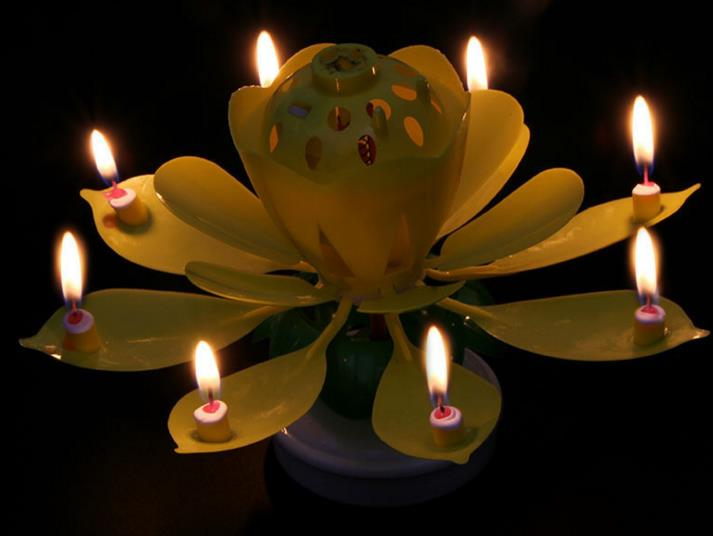 2 Layers Magic Music Candle Birthday Party Wedding Lotus Sparkling Flower Candles Light Cake Decorations Festive Supplies Gift
