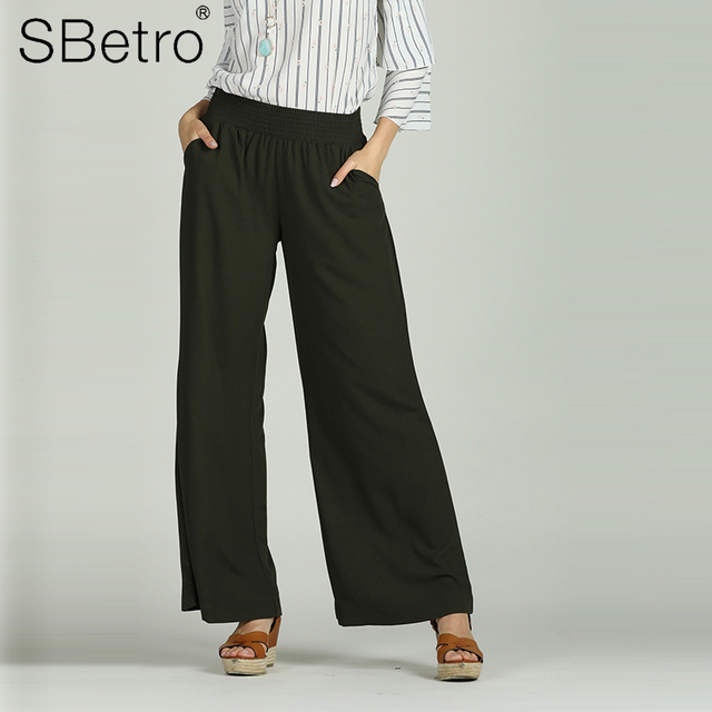 Suzanne Betro Vintage Wide Leg Sports Pants for Women Loose Elastic Waist Casual Solid Flat Ankle Length Female Woven Trousers
