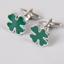 Green Four Leaf Clover  Cufflinks for mens luxury men groom Cuff link high quality shirt accessories