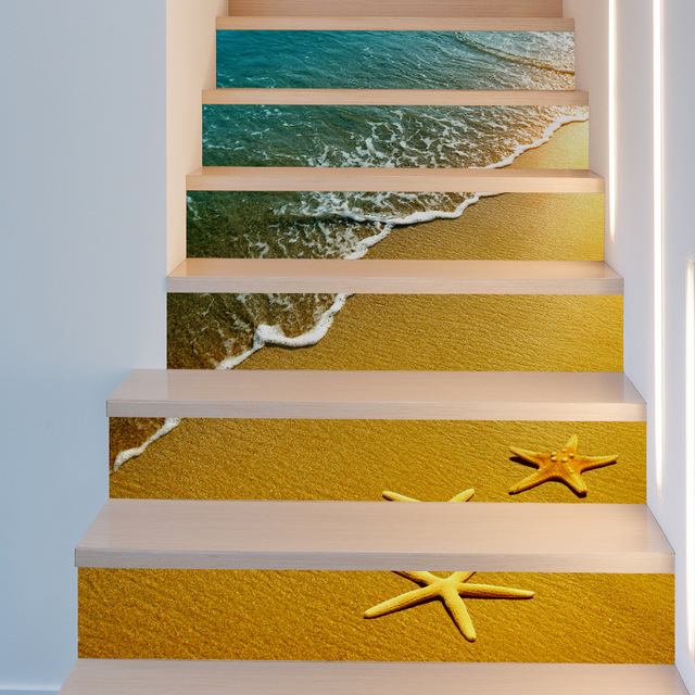 JERMYN 6pcs 3D Beach Starfish Home Stairs Wall Sticker Stairs ...