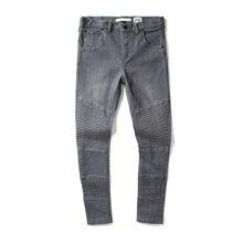 16ss грязно-белый мужские дизайнер Тонкий RUCHED черные джинсы