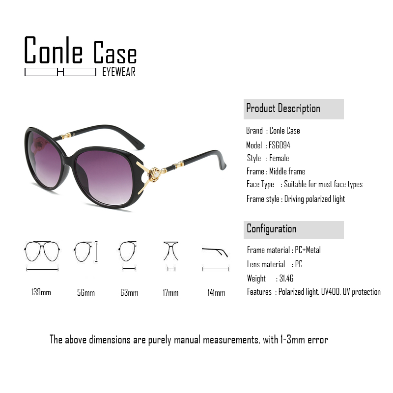 Conle Case 2019 brand design classic polarized sunglasses women ladies large round frame style sun glasses UV 400 in Women 39 s Sunglasses from Apparel Accessories