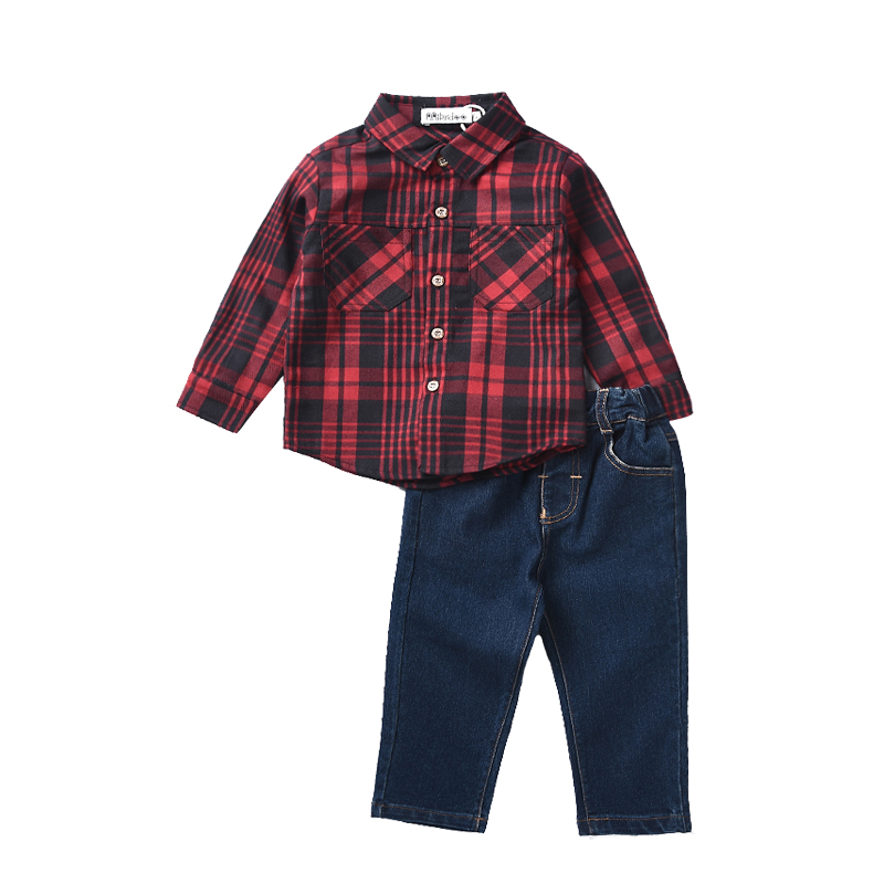 Autumn Boy Clothing Sets Plaid Shirt+Jeans 2PCS Kids Boys Gentleman Clothes Set Children Casual Suits for Toddler Boy 1-5 Years