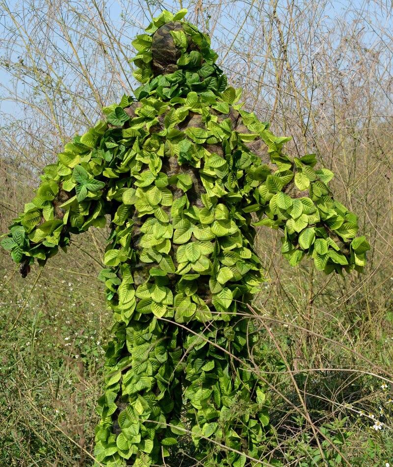 Chasse en plein air oiseau observation Jungle feuille Camouflage Ghillie costumes lumière CS tir entraînement dessus respirants pantalons ensemble vêtements - 3