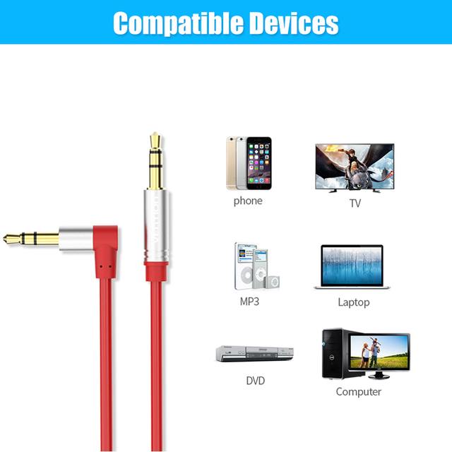 Vention 3.5mm Jack Audio Cable 3.5 Male to Male Cable Audio 90 Degree Right Angle AUX Cable for Car Headphone MP3/4 Aux Cord 1