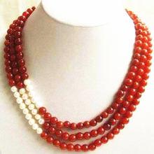 Ожерелье женское с бусинами из красного нефрита 8 мм 17 19 дюймов