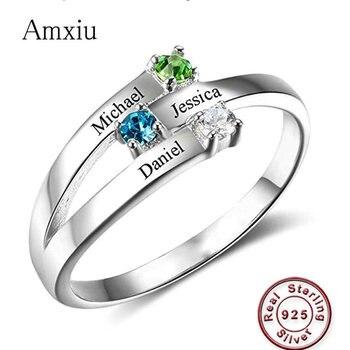 5fe8cb243cc3 Amxiu personalizado 100% anillo de Plata de Ley 925 grabar tres nombres con  piedras anillos para el día de la madre