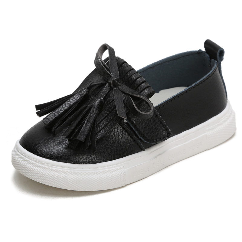 ULKNN Fringe Flat Leather Children's Shoes Princess Tassel Style Flat Shoes For Girls White Cute Kids Boat Shoe Baby Casual New