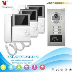 4,3 дюймов 3 квартира/семья телефон видео домофон системы RFID IR-CUT HD 1000TVL камера дверные звонки с кнопкой