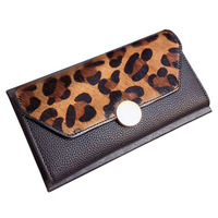 6PCS / LOT High Quality Pure Cowskin 3 Folds Wallet Women 2018 New Long Money Holder Phone Pocket Purse for Coins