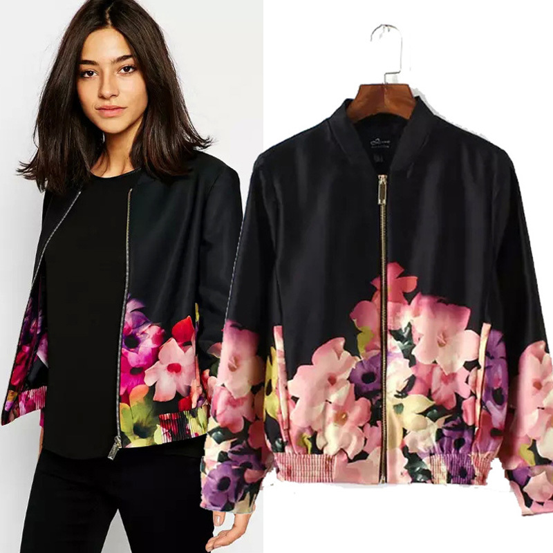 Floral Bomber Jacket Womens - Coat Nj