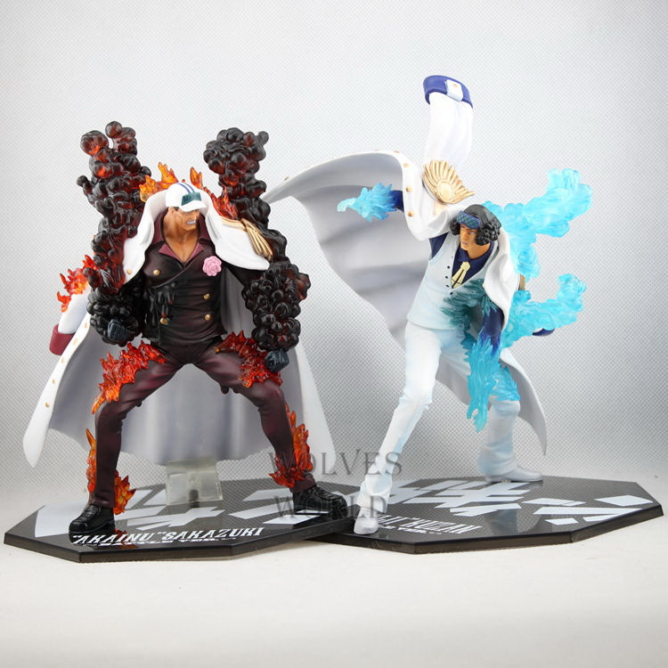 One Piece Battler Ver. Sakazuki Vs. Kuzan Action Figure Aokiji Kuzan Vs. Akainu Sakazuki PVC figure Toy Brinquedos Anime 21-23CM free shipping cool 8 7 one piece marine fleet admiral akainu sakazuki battle ver boxed pvc action figure collection model toy