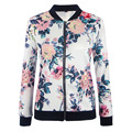 Fashion Basic Bomber Jackets Women Floral Printing Slim Casual Coats Womens Outwear baseball jacket chaquetas mujer