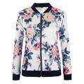 Moda Básica Bombardeiro Jaquetas Mulheres Floral Impressão Magro Casual Casacos Mulheres Outwear jaqueta de beisebol chaquetas mujer