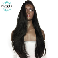 FlowerSeason Pre Plucked 5*4.5 Silk Base Glueless Full Lace Wigs Human Hair With Baby Hair Yaki Straight Remy Malaysian Hair