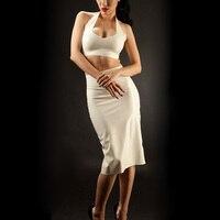 Комплект из белого латекса, юбка карандаш из латекса, силиконовый бюстгальтер на молнии сзади, платье