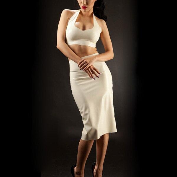 White Latex lingerings Set Latex Pencil skirt Back Zipped Latex Bra Withe Dress