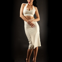 White Latex lingerings Set Latex Pencil skirt Back Zipped Latex Bra Withe Dress