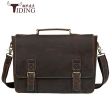 briefcase mens genuine leather hard handbag 16computer bags Vintage Crazy Horse Briefcases 2017Cow Leather Business Bag Russian