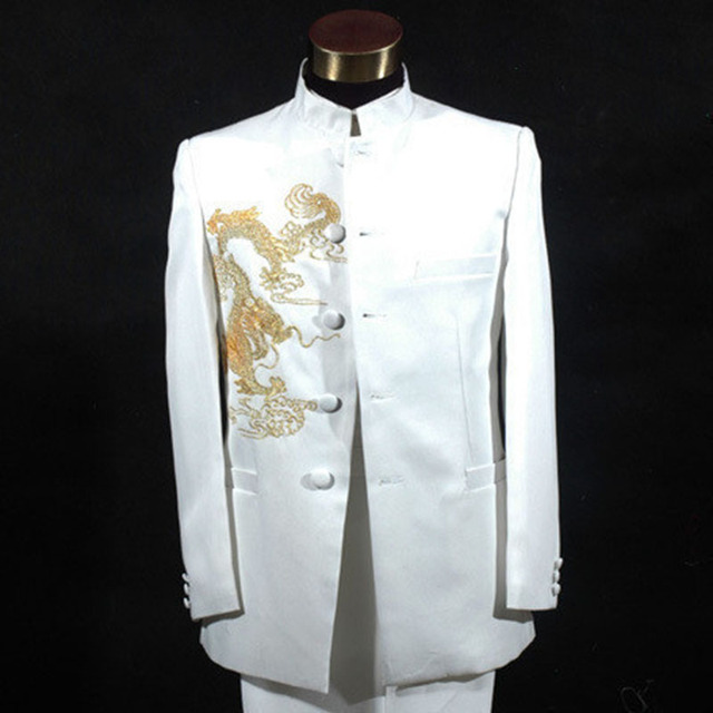 0e875f51ce9 Gold Dragon Embroidery Blazers Suit White and Black Long Sleeve Stage  Performance Chinese tunic suit costume