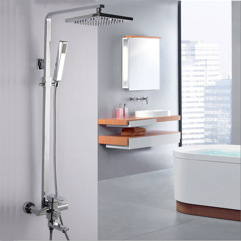 Shower Faucet Brass Silver Bathtub Faucet Square Tube Single Handle Top Rain Shower With Slide Bar Wall Water Mixer Tap YD-546 china sanitary ware chrome wall mount thermostatic water tap water saver thermostatic shower faucet