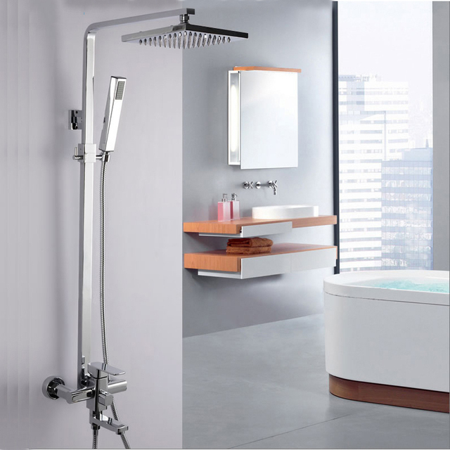 Shower Faucet Brass Silver Bathtub Faucet Square Tube Single Handle Top  Rain Shower With Slide Bar
