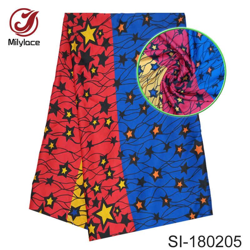 Новейший цифровой принт Шелковый материал Африканский Воск дизайн ткань прекрасный цветочный узор дизайн шелковая ткань для платья SI180206