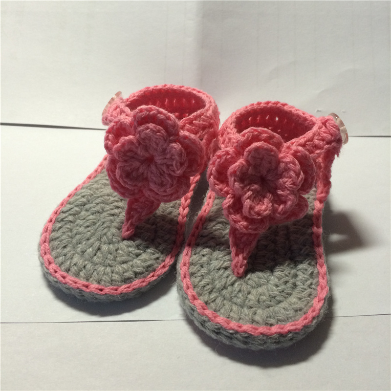 3f4731680 QYFLYXUE Baby Flip Flops Summer Girls newborn infant shoes pink gift knit  crochet photo prop-in First Walkers from Mother   Kids on Aliexpress.com