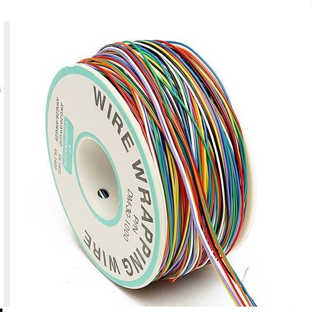 Cable de prueba de aislamiento de Envoltura de Cable de cobre Chapado en estaño de 30AWG de 0,25mm Cable de prueba de 8 colores carrete de envolver plástico de cobre Chapado en estaño 6,3 enchufe plano de púas resorte terminal frío cableado enchufe de codo primavera