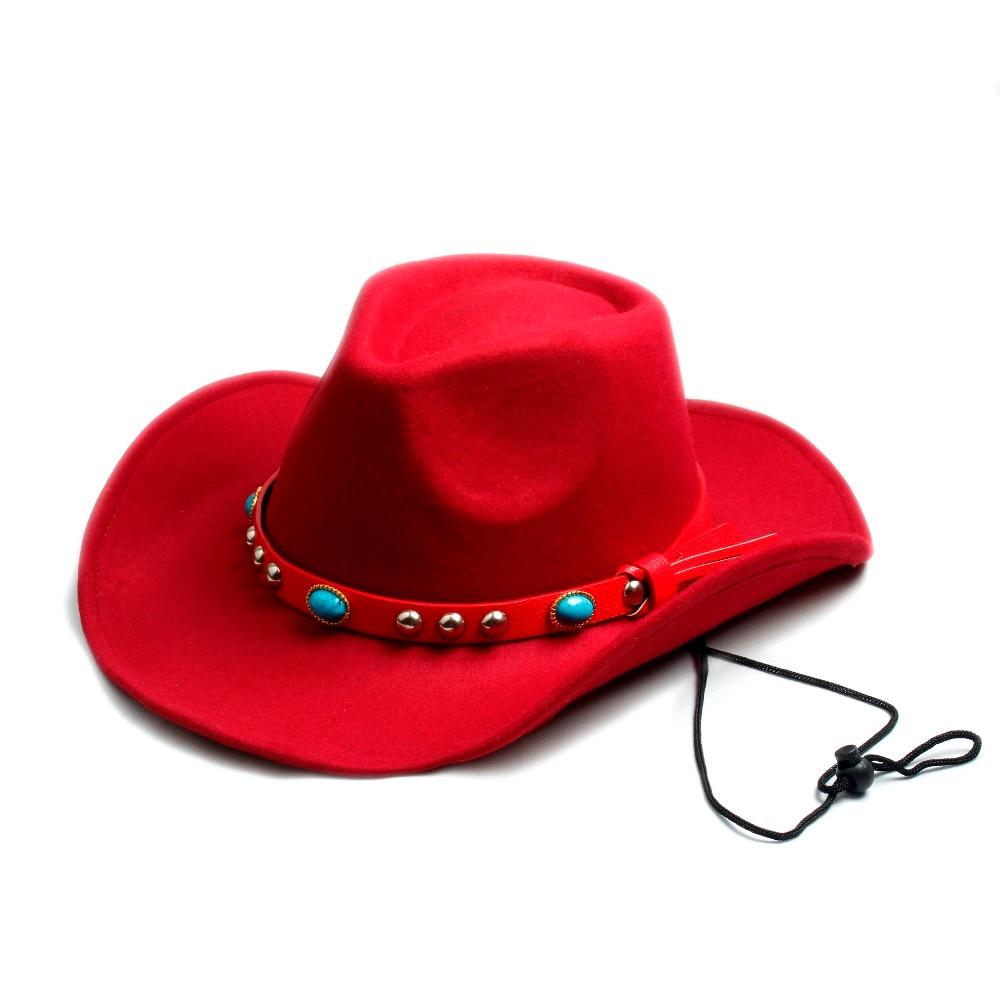 Hombres Mujeres 100% lana fieltro Sombrero Fedora Sombrero vaquero  occidental Cowboy gorra Jazz Sombrero sol gorra Toca con banda de cuero en  Sombreros de ... b27d210a6e20