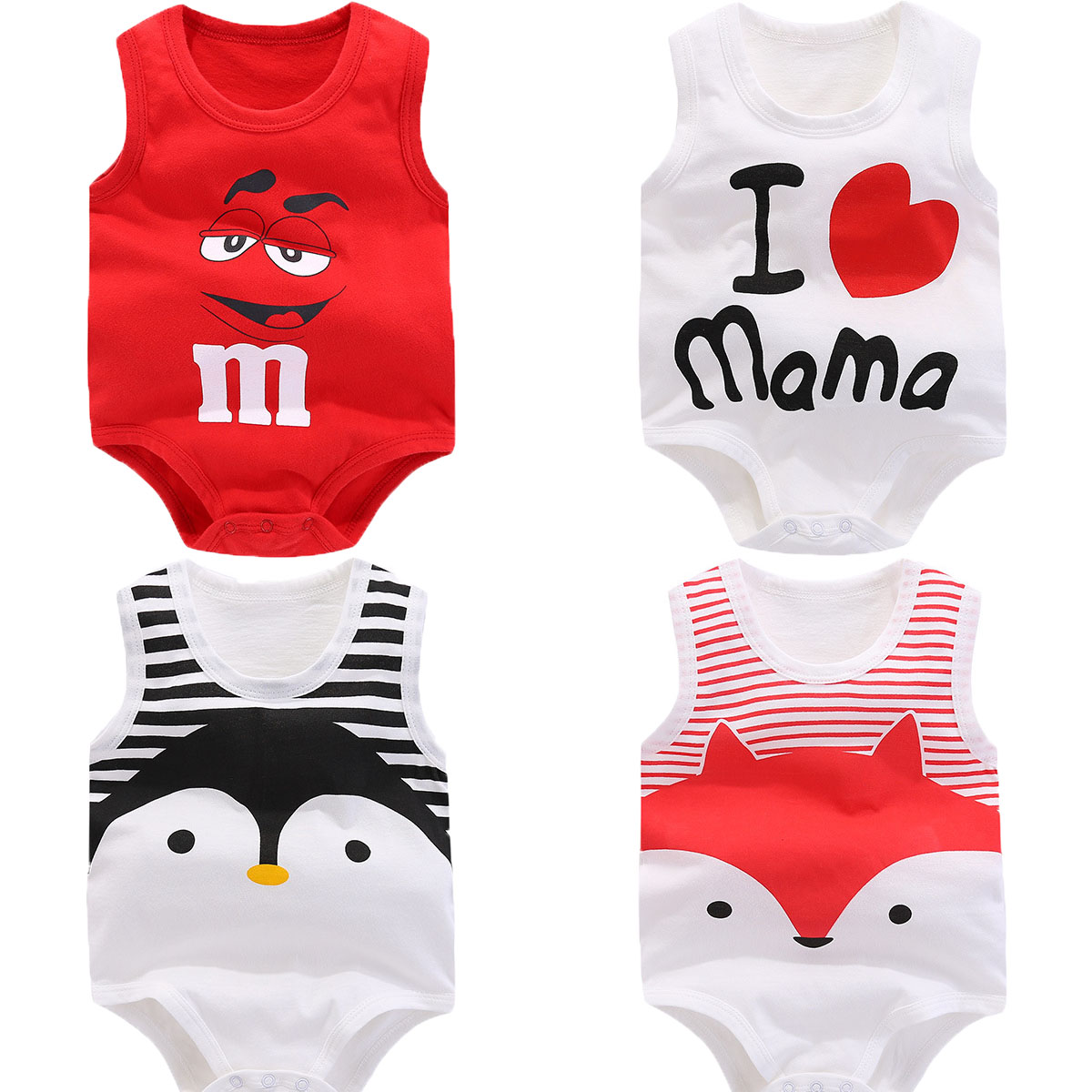 Unisex Newborn Baby   Rompers   Cotton summer sleeveless Baby Boy Clothes Infant Jumpsuits Baby Girls clothes 0-24M