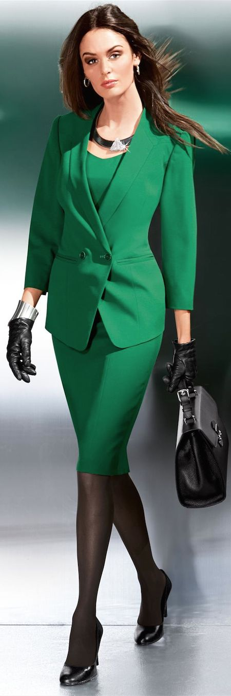 Jacket Skirt Women Business Suits Formal Green Office Uniform Styles