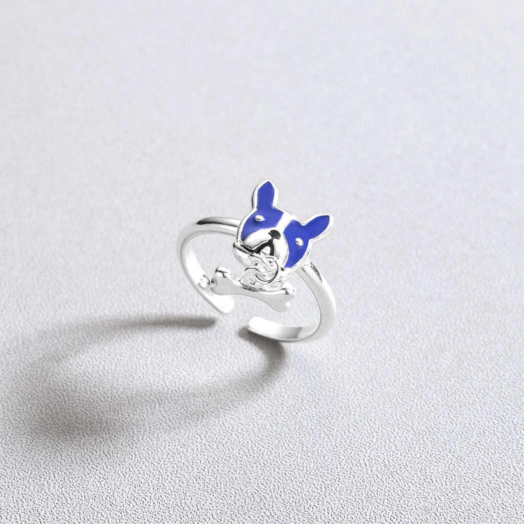 Cxwind ใหม่ French Bulldog สุนัขกระดูกแหวนหญิงสำหรับหญิงสาวน่ารักสุนัขสีฟ้าหัวแหวนของขวัญเครื่องประดับ bague femme