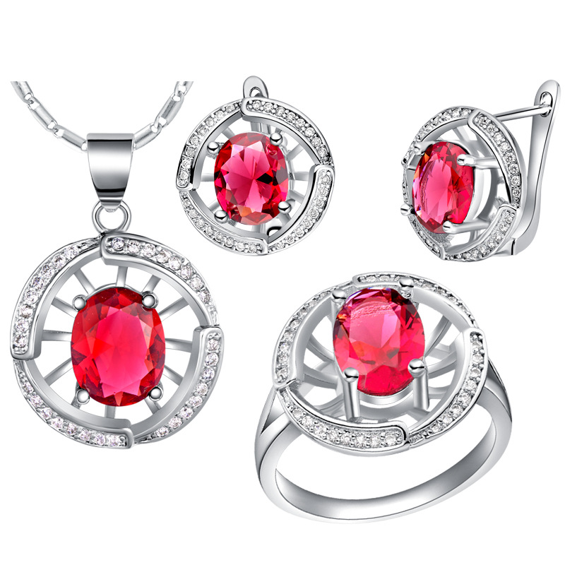 Pendentif collier boucles d'oreilles anneau nouveau 925 ensembles d'argent sterling personnalisé haut de gamme haut de gamme luxe bijoux ensembles argent