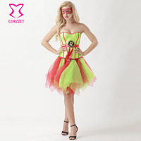 Supergirl Fancy Dress Sequins Corset Skirt Mask Burlesque Outfits Anime Cosplay Robin Superhero Costume Halloween Sexy