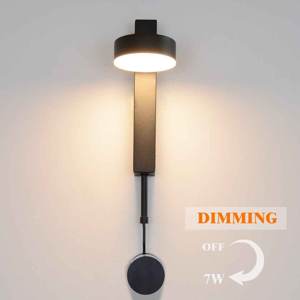 LED Wall Lamp Nordic Simple7W 9W Dimming Wall Light Bedroom Living Room Aisle Study Reading Dimmable  Sconce Modern Wall Lamps