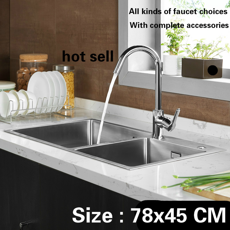 Free Shipping Standard Kitchen Sink 3 Mm Handcraft Double Groove Food Grade 304 Stainless Steel Durable Hot Sell 780x450 MM