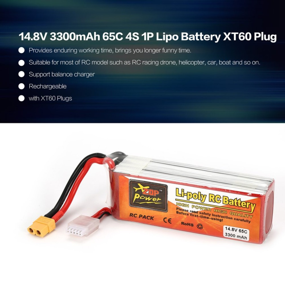 ZOP Power 14.8V <font><b>3300mAh</b></font> 65C <font><b>4S</b></font> 1P <font><b>Lipo</b></font> Battery XT60 Plug Rechargeable for RC Racing Drone Quadcopter Helicopter Car Boat Model image