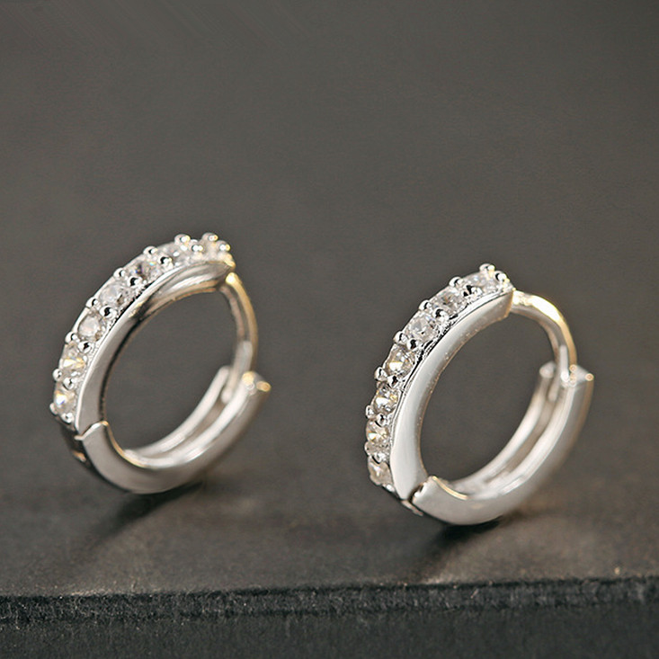 925 Sterling Silver Clip Earring For Women Jewelery Circle Luxury Crystal Sporty Fashion ...