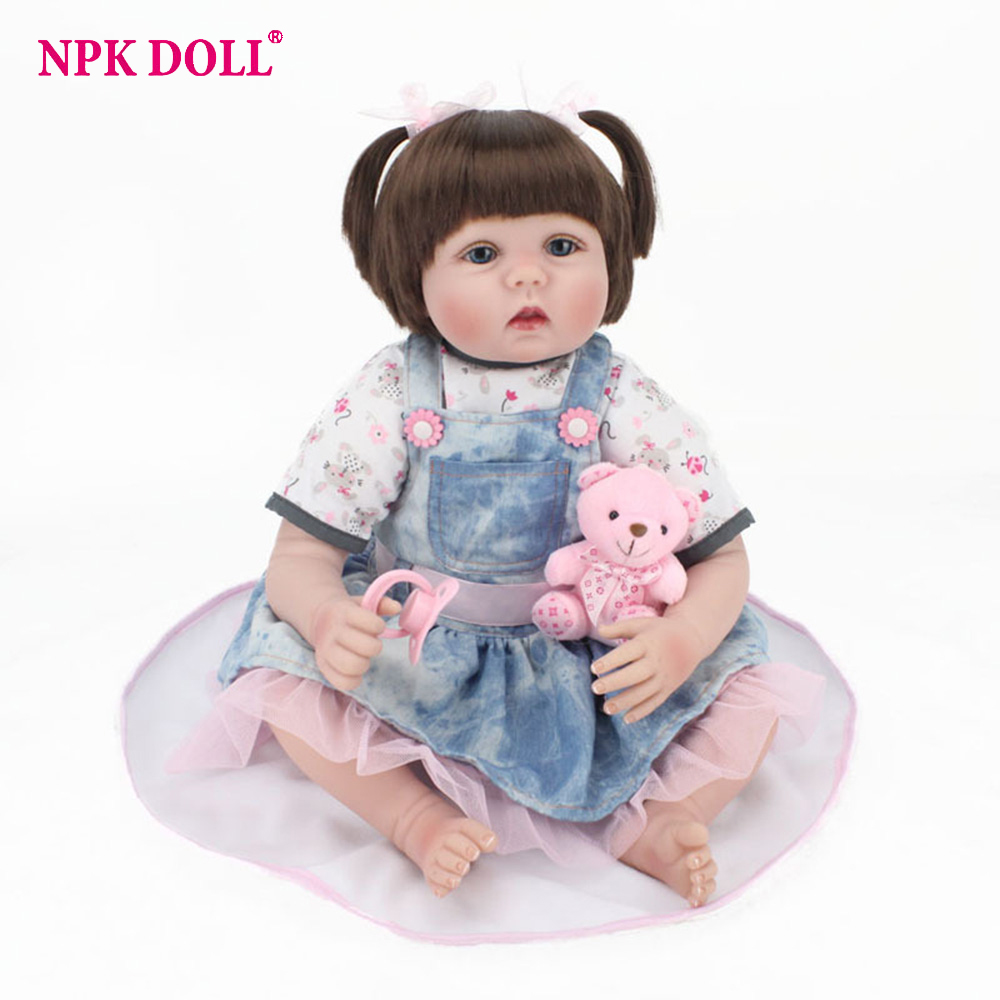 55cm Real Looking Dolls Reborn Handmade Rooted Hair Blue Eyes Girl Doll Silicone Vinyl Dolls Kids Playmate Toys Birthday Gift lps pet shop toys rare black little cat blue eyes animal models patrulla canina action figures kids toys gift cat free shipping