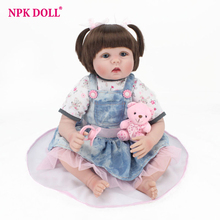 55cm Real Looking Dolls Reborn Handmade Rooted Hair Blue Eyes Girl Doll Silicone Vinyl Dolls Kids Playmate Toys Birthday Gift 2017 new 22inch 55cm full vinyl babydoll with wig hair girl gender doll soft real touch toys and gift for childen